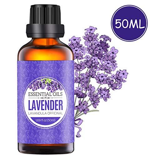 Homasy 50ml Lavendelöl für Aroma Diffuser, 100{e1dbf48fe6ce2ee2254e6d9fde46928a693b2060737dffb8d89df4f85658e01e} naturreines ätherisches Lavendelöl, arbeitet mit Diffusoren, Lufterfrischern oder Luftbefeuchtern