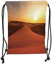 Fevthmii Drawstring Backpacks Bags,Desert,Footprints on Sand Dunes at Sunrise Hot Dubai Landscape Travel Destination,Dark Orange Yellow Soft Satin,5 Liter Capacity,Adjustable String Closure