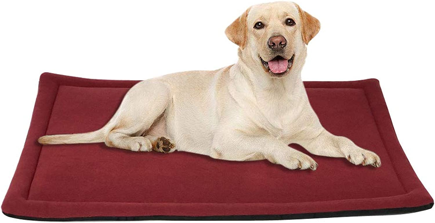 BG ARTTEX B&G Sleeping Dog Mat Soft Velvet Pets Bed Contrast color Design and Both Sides for Use Washable and Easy CleanRed&Black(35 inch by 23 inch)