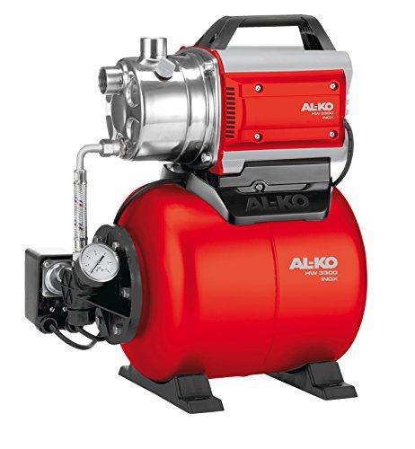 AL-KO Huiswaterpomp 3300 Inox, 810 W motorvermogen, max. 3200 l/h debiet, max. 38 m opvoerhoogte, roestvrij stalen pompkop, 17 l grote drukketel, incl. manometer & drukschakelaar & aansluitkabel