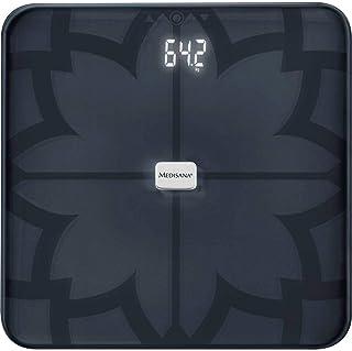 medisana BS 450 digitale weegschaal voor lichaamsanalyse 180 kg, zwarte personenweegschaal voor het meten van lichaamsvet,...