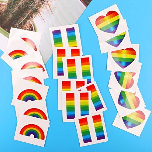 Tacobear 24pcs Gay Pride Regenbogen Aufkleber Temporäre Tattoos Regenbogen Flagge Aufkleber Abnehmbare Wasserdichte Körper Regenbogen Temporäre Tattoos (Heart-Shaped)