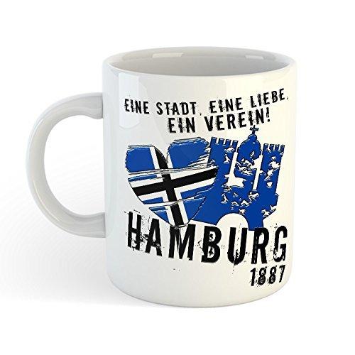 Volkspark Hamburg Streetwear Tasse Eine Stadt-Eine Liebe-EIN Verein (Weiss)