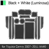 JPVGIA For Toyota Camry 2007 2008 2009 2010 2011 XV40 40 Daihatsu Altis Aurion Puerta de la Estera Vi 6 Coches Groove Rubber Mat Interior cojín de la Taza (Color : White 2007 11 Camry)