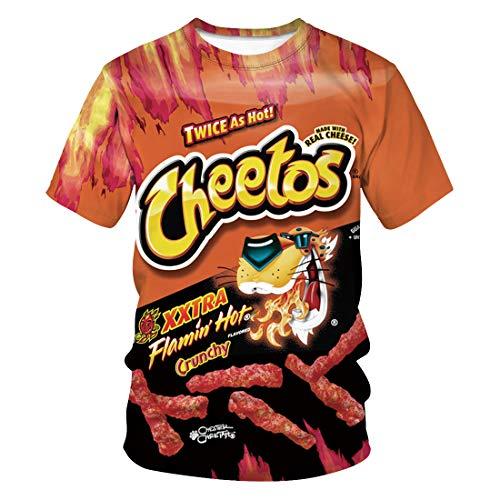 NAID Unisex zomer nieuw grappig straatpaar tops 3D cheetos eten print T-shirt nonchalant sweatshirt heren en dames korte mouwen