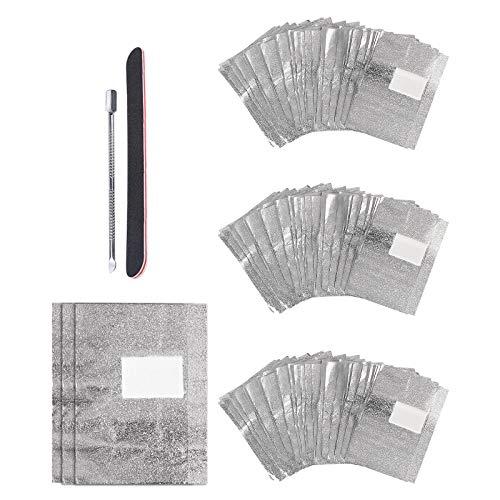 CINEEN 100 Stück Nail Polish Remover Wraps Pads, Ultradünnes Nagellack Remover Aluminiumfolie und 1 Stück Nagelhaut Schieber und 1 Nagelfeile Streifen, für Gelnägel, Maniküre & Pediküre