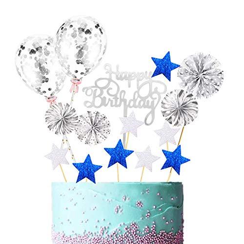 BOYATONG 27 Piezas de decoración para Tartas, Feliz cumpleaños, decoración para Tartas con Purpurina Plateada,tapón para Tartas, decoración para Cupcakes, cumpleaños para niñas / niños,Color Plateado
