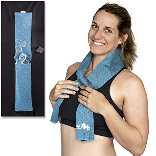 Bare Neckd Ice Cooling Towels with Insulated Ice Pockets - Instant Relief Large Cooling Towels for Athletes Sports Fitness Gym Yoga Hiking Travel Hot Flashes | Reusable Wrap Around Ice Pack