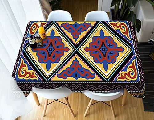 Nappe imprimée bohême Motif Fleurs Indiennes Nappe rectangulaire Couverture de Table en Coton imperméable Variation de Mariage A10