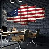 45Tdfc 5 Piezas Cuadro de Lienzo - Bandera Americana Vintage Pintura 5 Impresiones de imágenes Decoración de Pared para el hogar Pinturas y Carteles de Arte HD 200cmx100cm Sin Marco