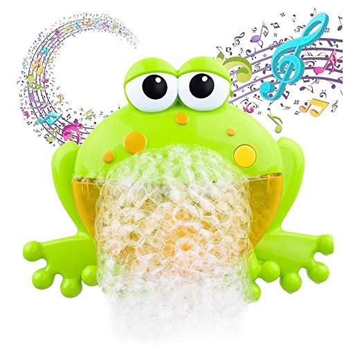 leegoal Juguetes del Baño Rana de Burbujas,Máquina de Burbuja con 12 Música Infantil y Burbuja Automática, Divertida para Ducha de Niños Bebes