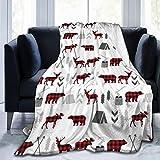 YCKNJYSG Buffalo Plaid Woodland Moose Fleece Throw Blanket Cozy Couch Bed Sofa Blanket, 60'' X 80''