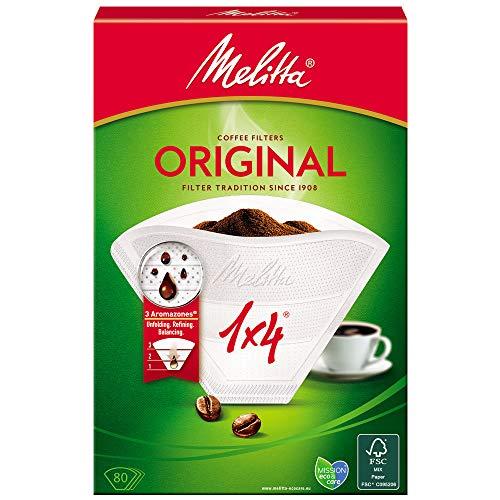 Melitta 6658090 1 caja de 80 Filtros de Cafe Desechables, Blanco