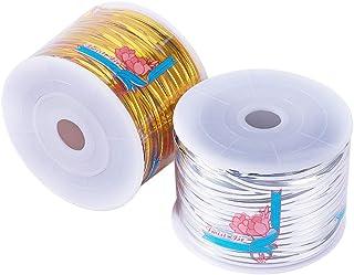 nbeads 200ヤード ラッピングタイ ワイヤータイ ビニタイ 包装用 キャンディー ギフト 手芸 雑貨 100ヤード/巻き 2巻き(ゴールド シルバー)