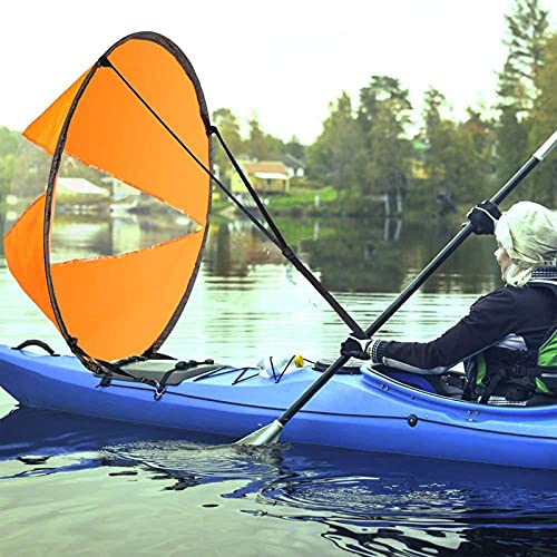 zhgzhzwlf Kit de vela de viento de kayak de 42 pulgadas para kayak, vela de viento con ventana de PVC transparente, para kayak, barco, velero, canoa, color naranja
