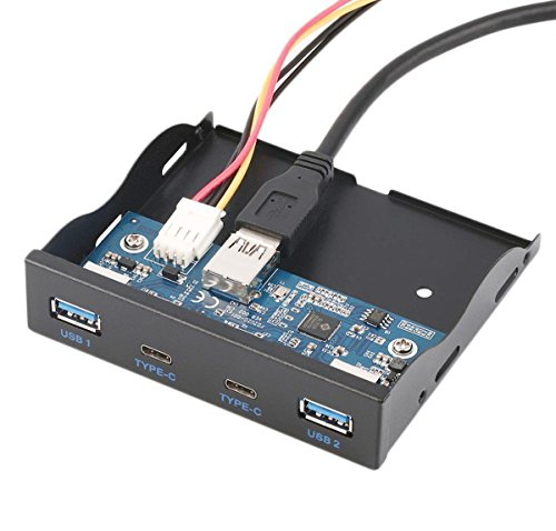 C-Zone USB 3.0 2-Ports + USB 3.1 Type C 2-Ports 3.5 Inch Front Panel USB Hub with 20 Pin Connector & 2ft Adapter Cable