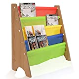 AllRight Book Storage Vintage Kids Wood Sling Book Display Storage Colorful Children Bookcase