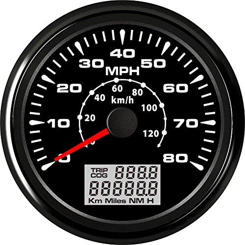 ELING Velocímetro GPS para coche motocicleta barco 0-80mph 0-120km/h 9-32V 85mm