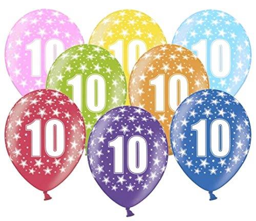 Libetui 10 kunterbunte Luftballons 10 Jahre Metallic 30cm Deko zum 10. Geburtstag Jubiläum Rosenhochzeit Party Kindergeburtstag Happy Birthday Dekoration Zahl 10