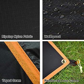 GEERTOP Tapis de tente/ Bâche/ Tarp/ Tapis de Sol 20D Imperméable Ultra Léger - 210 x 180 cm (300g) - 3 Personne Portable à poche flexible solide pour camping randonnée (XXL)