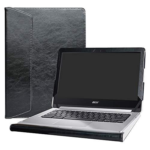 Alapmk Diseñado Especialmente La Funda Protectora de Cuero de PU para 13.3' Acer Chromebook R13 R 13 CB5-312T/Acer Spin 5 13 SP513-52N SP513-53N Series Laptop,Negro