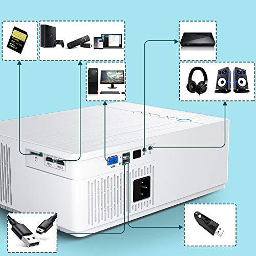 Vidéoprojecteur? TOPTRO Bluetooth 7100 LM Projecteur Full HD 1080P? Natif 1920x1080 Soutien 4K, Contraste 10000:1, Correction Digital 4D±50°, Zoom X/Y, Rétroprojecteur LED, Home Cinéma