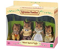 Walnut squirrel posable collectable figures Four piece set: Father, mother, brother and sister Dressed in removable fabric clothing Walnut squirrel family live in beech wood hall Suitable for ages three years to 10 years