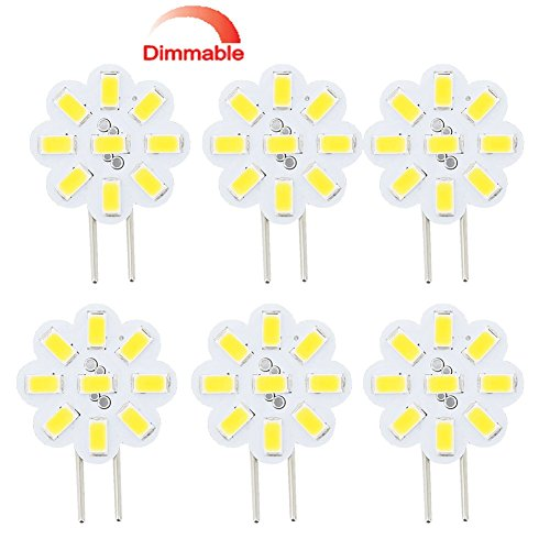 Best to Buy (6-Pack) Dimmable 2.4Watt T4 G4 DISC Puck LED 9SMD 5730LED, Warm White (Jc10 Bi-pin 14-17W Replacement) for RV Campers, Trailers, Boats, and Under-Cabinet Light