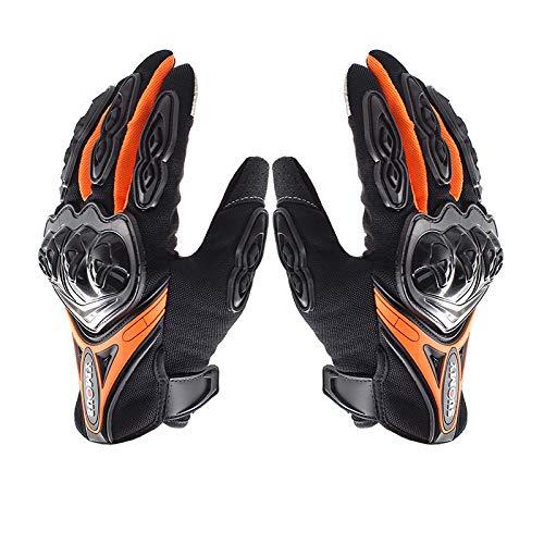 Lightinthebox Guantes de Moto para Dedo Completo Material de Nylon Waterproof y Antideslizante Guantes con Táctil Antiestática Dedo (Naranja, L)