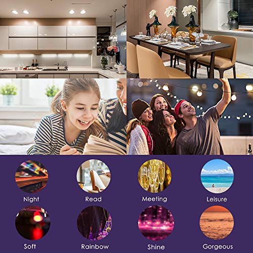Smart WiFi Alexa Light Bulbs 2.4G, SAUDIO LED RGB Color Changing Bulbs, Compatible with Siri,Alexa,IFTTT and Google Home Assistant   , No Hub Required, A19 E26 Multicolor 4 Pack