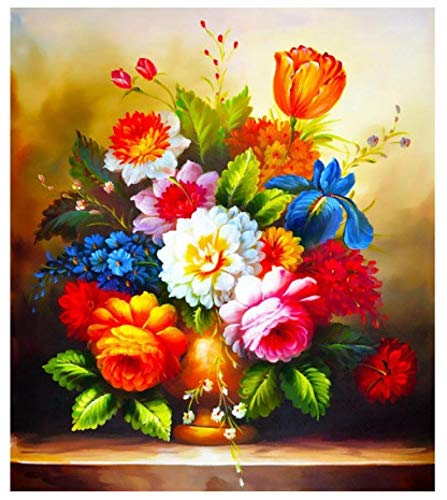 DIY 5D Diamond Painting Flower Cross Stitch Kit Full Drill Diamond Embroidery Flowers Mosaic Art Picture Home Decoration Gift 50X60Cm