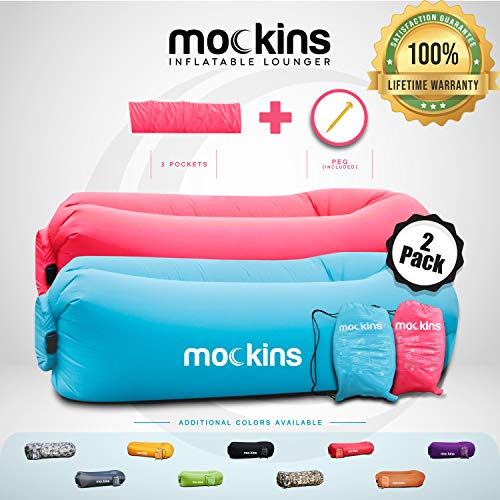 top 10 inflatable beach chair The Mockins 2 Pack inflatable sofa is ideal for sunbeds and portable sunbeds.