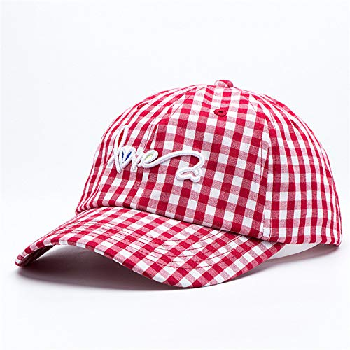 sdssup Sombrero de sombrilla de Verano Fino a Cuadros Bordado Tapa Moda Letra Gorra de béisbol Rojo Ajustable