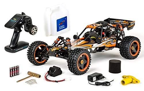 Carson 500304032 1:5 Wild GP Attack 2.4G RC Verbrenner, 1.8 PS, 2WD, bis zu 65 km/h schnell, Premium Bauteile, Offroad, RTR, 2.4 GHz, ferngesteuertes Auto, orange