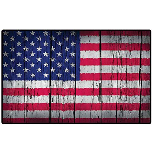RenteriaDecor Rustic Decor American USA Flag Small Kitchen Rug Fourth of July Independence Day Grunge Art Aged Hardwood Wooden Wall Looking Art Outdoor Doormat for Front Porch/Kitchen/Laundry Room