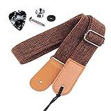 Rinastore Ukulele Strap Country Style Soft Cotton Linen & Genuine Leather...