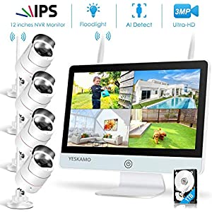 """Floodlight Wireless CCTV Camera System with 12"""" IPS Monitor 2 Way Audio,3MP Spotlight Outdoor Security CCTV Cameras Kit for Home,AI Human Activated Siren Alarm with 1TB Hard Drive All in One CCTV Set"""