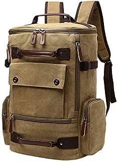 SODIAL Men's Backpack Vintage Canvas Backpack School Bag Men's Travel Bags Large Capacity Backpack Laptop Backpack Bag Coffee