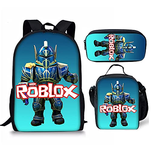 GD-SJK Amacigana Roblox Juego de mochila escolar, mochila de 17 pulgadas, bolsa de deporte, mochila ergonómica, duradera, resistente al agua, Roblox9, 17,