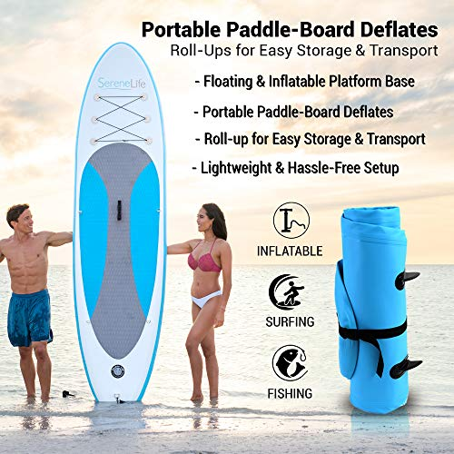 Product Image 2: SereneLife Inflatable Stand Up Paddle Board (6 Inches Thick) with Premium Accessories & CarryBag   Wide Stance, Bottom Fin for Paddling, Surf Control, Non-Slip Deck