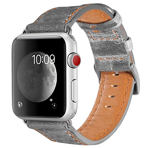 Armband für Apple Watch 42mm(44mm Series 5/4), Apple Watch Armband Leder Armband Vintage Echtleder Uhrenarmband für iWatch Series 5, 4,Series 1, 2, Series 3, Apple Watch Sport Edition und Nike+ Grey