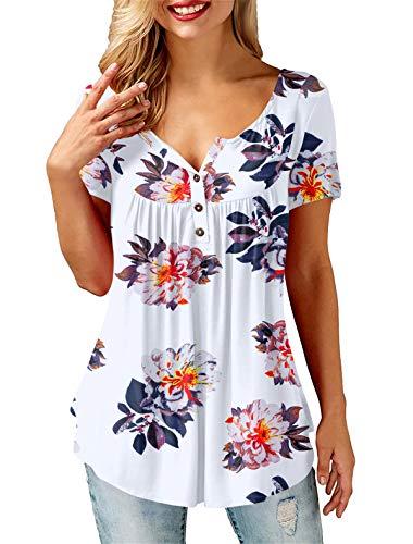 AMORETU Tunika Damen Blumen T-Shirt V Ausschnitt Knopfleiste Bluse Oberteil,2-weiß,38(S)