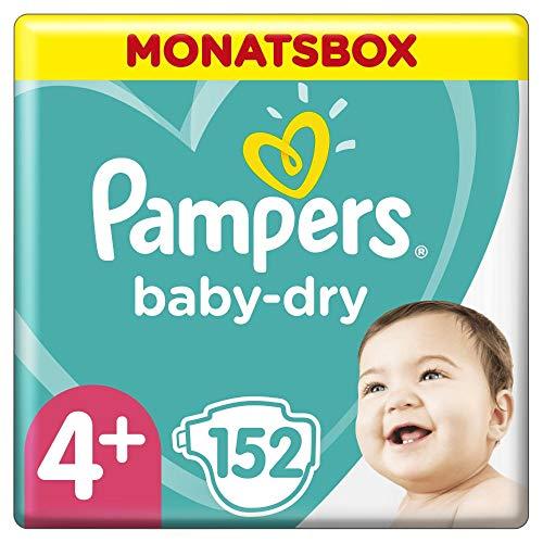 Pampers Baby-Dry Windeln, Gr. 4+, 10-15kg, Monatsbox (1 x 152 Windeln), bis zu 12 Stunden Rundum-Auslaufschutz