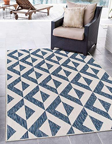 Unique Loom Jill Zarin Outdoor Collection Modern Geometric Beige Area Rug, Blue/Ivory, 6 x 9 feet -  3152462