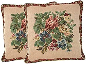 Tache 2 Piece 18 X 18 Inch Tapestry Festive Red Yuletide Blooms Throw Pillow Cushion Cover - 5598