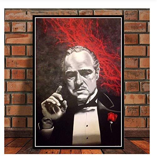 Suuyar Der Pate Film Marlon Brando Al Pacino Poster Wandkunst Bild Leinwand Malerei Poster und Drucke für Raum obrazy -50x70cm Kein Rahmen