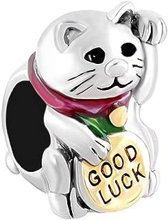 QueenCharms Symbol of Luck Maneki Neko Japanese Talisman Animal Charm Bead for Bracelet