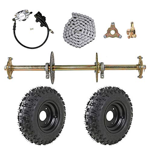 ZXTDR 1' Rear Live Axle Kit with 4.10-6 Tubeless Wheels Tires Rim and Chain Sprocket Brake Master Cylinder for Go Kart Quad Trike Golf Carts