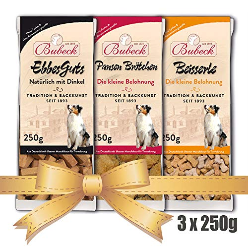 Hundekekse Bubeck | hart gebacken | 3 x 250g Bundle | Zahnpflegeleckerlies