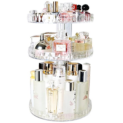 SLHP Kosmetik Organizer 360 Grad Drehbarer Multifunktionale Make up Aufbewahrungsbox Einstellbarer Kosmetikorganizer Acryl Kosmetik Aufbewahrung (Transparent 3)